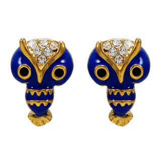 Cute Owl Design Studs In Dark Blue