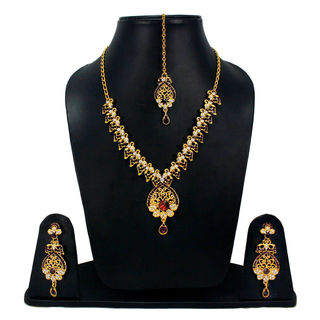 Designer Purple Stone And CZ Adorned Necklace Set For Women