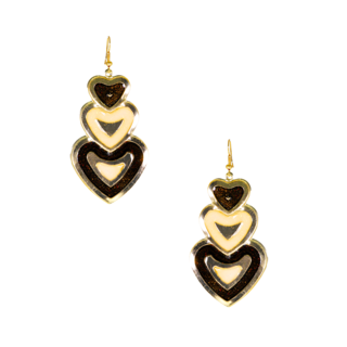 Trendy Brown Long Drop Heart Earrings For Women