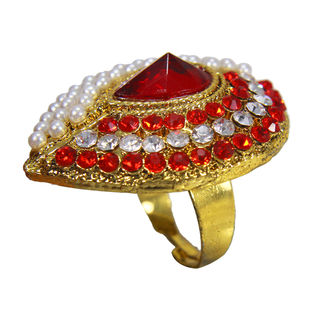 Red Stones And Pearl Studded Gold Tone Ring For Women, adjustable