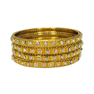 Alluring Golden Bangles With Studded White Stones For Women, 2-8