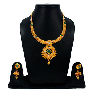 Gorgeous Gold Tone Necklace Set With Green Stones For Women
