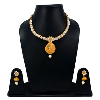 Elegant Look Necklace Set Adorned With White Stones