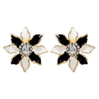 Black And White Floral Studs For Women