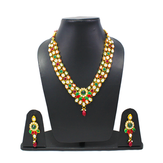 Red and Green Three Layer Necklace Set With Leaf Design