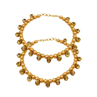 Golden Pearl Adorned Beautiful Anklet For Women