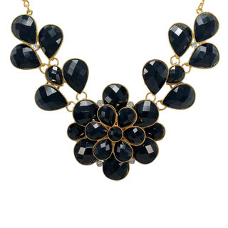 Floral Design Inspired Black Beads Alloy Necklace