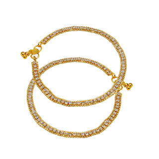 Golden Payal Adorned With White Stones