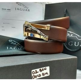Stylish Jaguar Leather Casual Brown Belt For Men