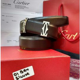 Cartier Silver Buckle Brown Leather Belt For Men