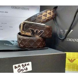 New Giorgio Armani Gold Buckle Brown Belt For Men