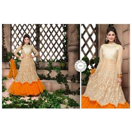 New Fancy Designer orange and beige Anarkali Suit