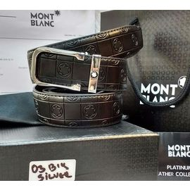 Mont Blanc Silver Buckle Black Leather Belt for Men