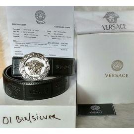 Stylish Versace Belt for Men - Silver Buckle Black Leather