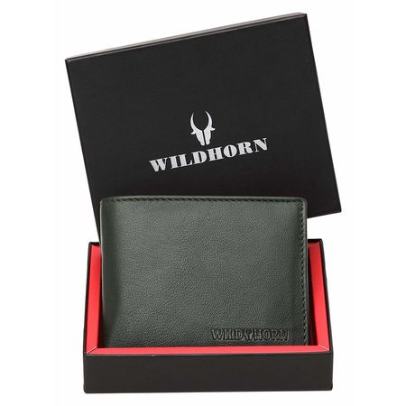 WILDHORN New HIGH Quality RFID Protected Men' S Genuine Leather Wallet/RFID Blocking Wallet for Men (Green)
