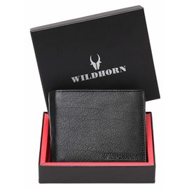 WILDHORN New HIGH Quality RFID Protected Men' S Genuine Leather Wallet/RFID Blocking Wallet for Men (Black)