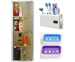 CiplaPlast Combo of Crystal Bathroom Cabinet (White) , Tooth Brush Holder & 2 x Soap Dishes (Assorted)