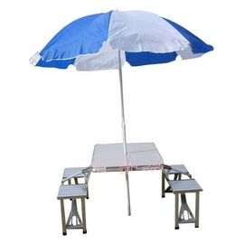 ALUMINIUM PORTABLE FOLDING PICNIC TABLE & CHAIRS SET With UMBRELLA