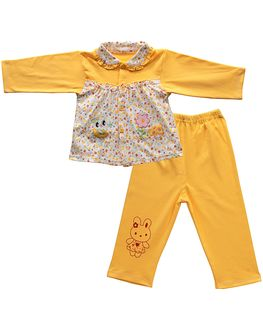 Bright Yellow floral print nightsuit set for cute little girls, 3-4 years
