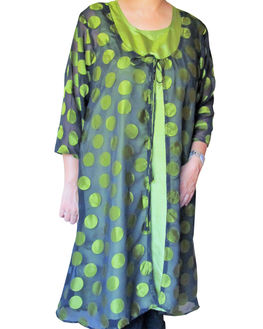 Black & Green Polka Dot Maternity Wear, large