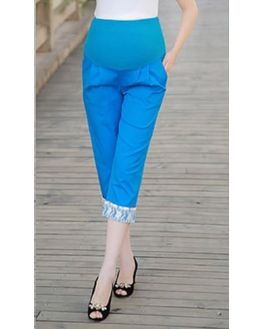 Bright Blue Maternity Capri, medium