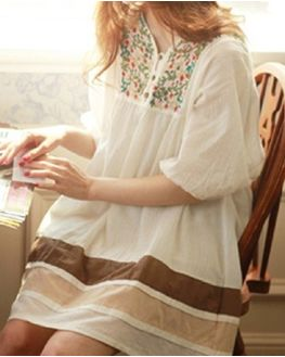 White Maternity Tunic with beautiful embroidery on front yoke, large