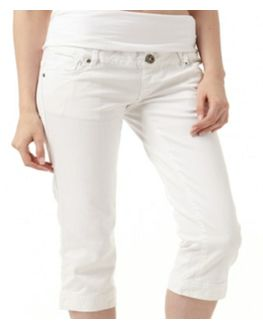 Maternity White Denim Capri with jersey stretchable waistband, xtra- large, white