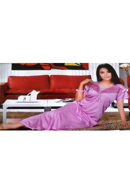 1 Piece Satin Nighty - JK-1P-1213, rani pink