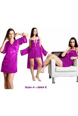 Honeymoon 2 piece nighty - Sensual and Sexy - JKNHNS-2803, brinjal
