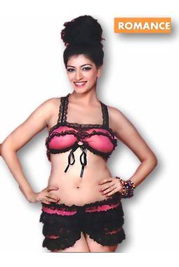 Sizzling hot bra skirt set - JKHOTBraSkirtSet - 3040 D, pink black
