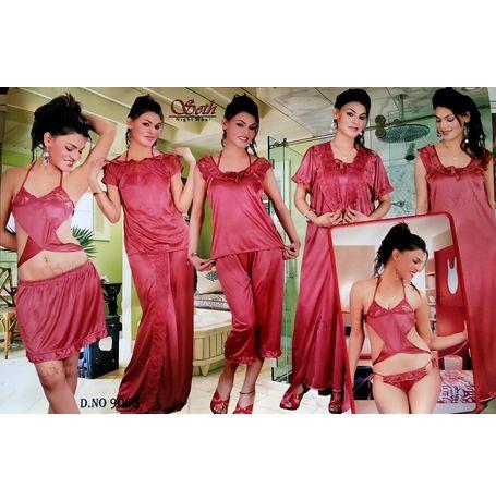 9 piece Lungi honeymoon nighty set - Lungi Bra Panty Skirt Top Skirt Pyjama Top nighty Overcoat - JKSETH-9P - 9005, rani pink