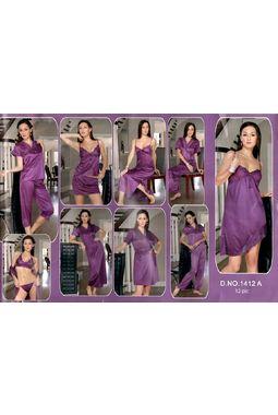 12 Piece Honeymoon Nighty - Bra Panty Top Capri Skirt Babydoll Robe Pyjama Short Nighty Robe Overcoat - JKNAV-12P- 1412, baby pink