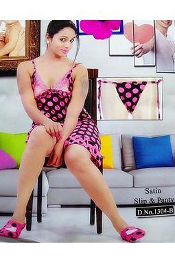 Sexy Satin Babydoll - JKDELJAICH-Baby, 1304b-polka-pink, free  30-36 bust  30-34 waist  30-36 hips
