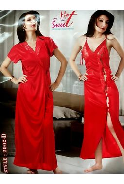 2 Piece Romantic Honeymoon Nighty - Sweetheart Sleepwear - JKHNS - 2P - 2902, red