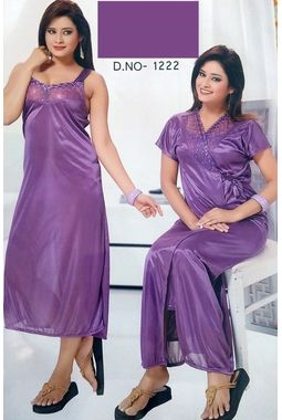 2 piece lace nighty with transparent front JKSETH-2P-FrontTransparent-1222, lightpurple, free size  30-36  inch, nighty with overcoat gown