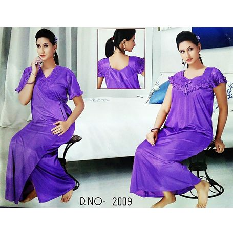 2 piece premium nighty frilled - JKSETH-2P-2009, lavender, free size  32-36  inch, nighty with overcoat gown