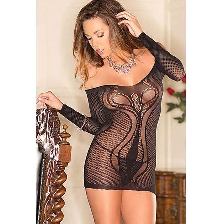 Netted Off-shoulder Mini Lingerie - JKDLLC21752, black, free  30-34 bust  30-34 waist  30-34 hips , 1 piece lingerie  thong not included