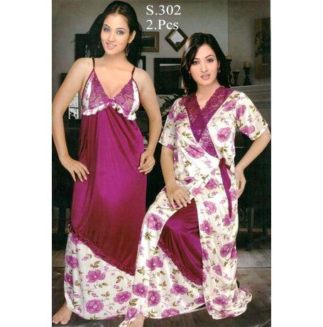 2 Piece Exclusive Premium Nighty - Blooming flowers - JK2P-S- 302, purple white