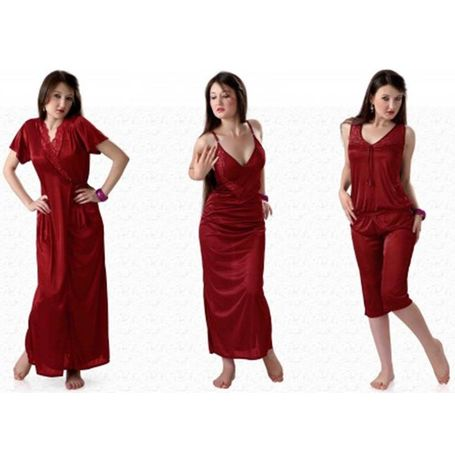 4 piece lovely honeymoon nighty - JKHNS - 4P - 2915, winered, free  30-36 bust  30-34 waist  30-36 hips