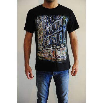 Men's round neck graphic digital print black regular fit art t-shirt - ElectriC City, s