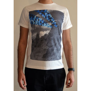 Men's round neck graphic digital print white slim fit art t-shirt - Moai statue rays, l
