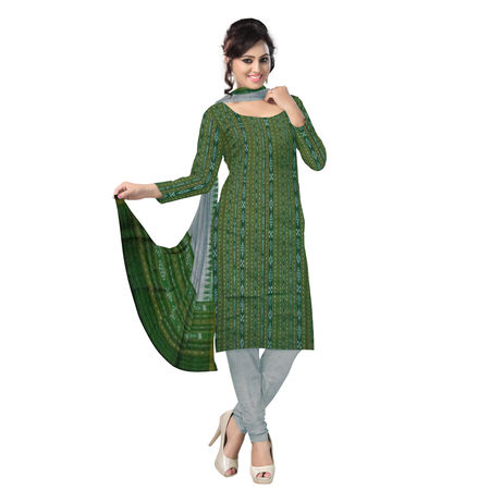 OSS2021: Beautiful Traditional Dark Green & Grey Traditional Ikat(tie & dye) Cotton Dress Material.