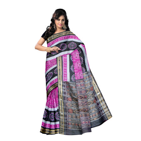 OSS455: Pink color Handwoven Konark design katki cotton sarees of odisha
