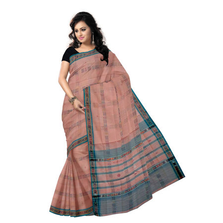 OSS254: Lines and Buti design Orange-Pink Pure Cotton Saree for your Summer wear, 5.5