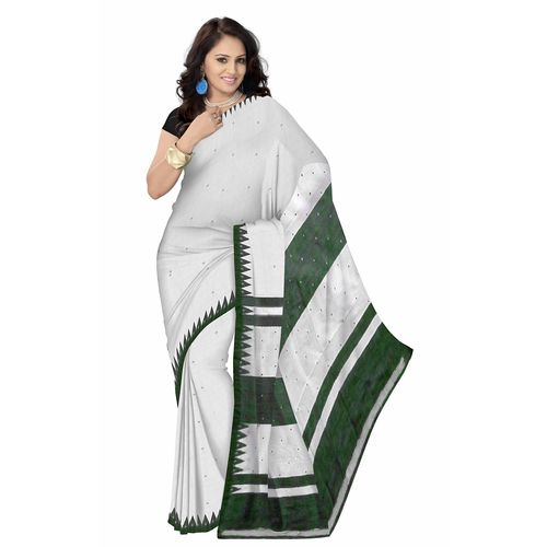 OSS034: White color sambalpuri Silk Sarees Online shopping