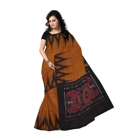 OSS7434: Copper-Black kargil design cotton saree of odisha