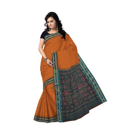 OSS7446: Light Brown buti design handwoven cotton saree