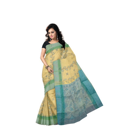 AJ000151: Light Beige with Blue Handloom Kantha Stitch Cotton saree of West Bengal