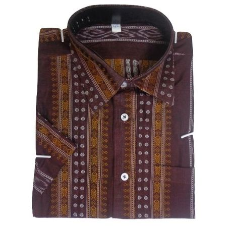 OSS8032: Deep coffee color handloom Cotton Shirt