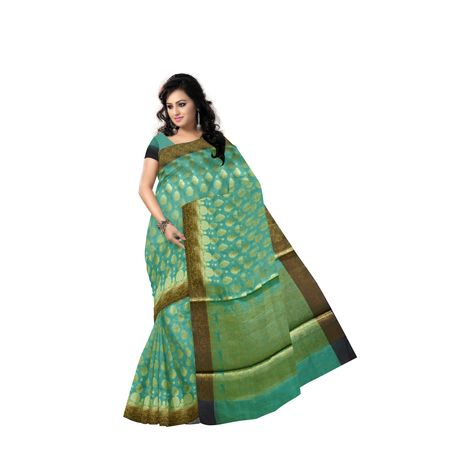 Olive Green With Golden Handloom Buti Design Banaras cotton Silk Saree of Uttar Pradesh AJ001596
